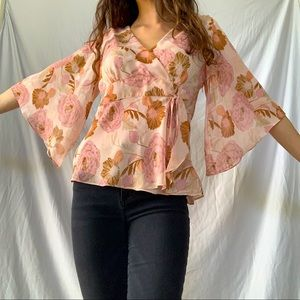 Loft Pink Wrap Top with Bell Sleeves
